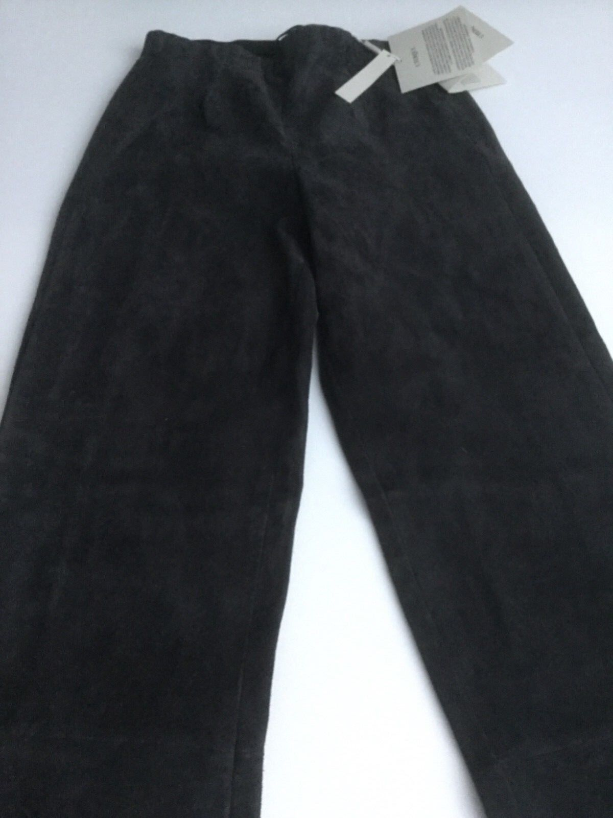 BNWT 'UTERQUE' GREY SUEDE SKINNY STRAIGHT LEG DESIGNER TROUSERS SIZE EUR S