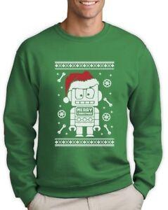 Robot Santa Ugly Christmas Sweater - Xmas Funny Geeky Sweatshirt ...