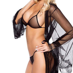 ea56d72ffc334 2PC Hot Womens Sexy Dressing Gown Plus Size Bra +Gstring Babydoll ...