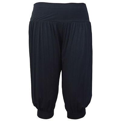 Ladies 3/4 Harem Baggy Shorts Women Plain Cropped Ali Baba Trousers Pants 8-26