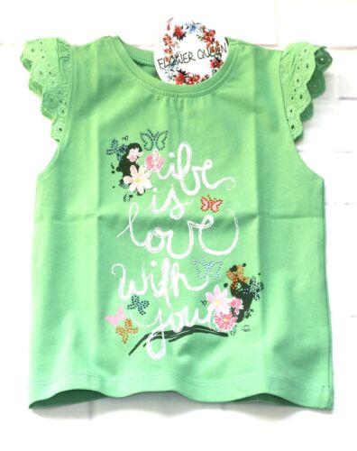 Bondi Fille T-shirt Dentelle Strass Papillon Vert Taille 92 110 122 128 Neuf