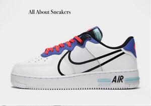 Nike-Air-Force-1-reaccionar-034-Blanco-Multi-034-Hombre-Zapatillas-Limited-Stock-Todos-Los-Tamanos