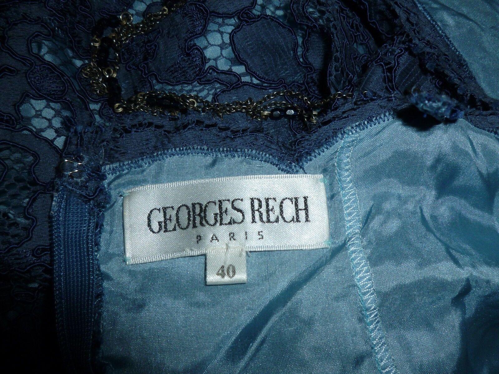 GEORGES RECH PARIS Blau Blau Blau COTTON LACE ON PURE SILK LINING  DRESS     UK  12  EU 40 | Viele Sorten  | Moderne Muster  | Angenehmes Aussehen  06145d