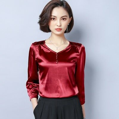 Lady Satin Faux Silk Shirts Tops Blouse V Neck Shiny Plain Pullover Soft Elegant