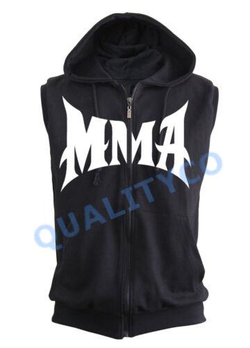 MMA Black Zipper Vest Hoodie Sweatshirt Workout Muscle Gym Fitness BJJ