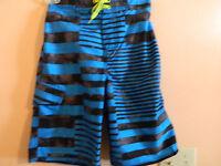NWT Joe Boxer boys board shorts, blue and black, 100% polyester size 10/12