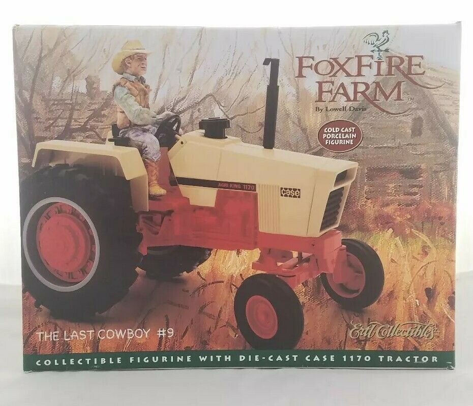 1997 Foxfire Farm Vintage Collectible Figurine Cowboy  9 CASE 1170 tracteur Neuf dans sa boîte
