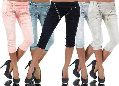 Damen Boyfriend Strech Bermuda Jeans weiss leichter Used-Look Knopfleiste 48-54