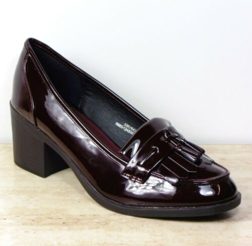 M/&S Block Heel PATENT Fringed Front TASSEL LOAFERS ~ Size 7 WIDE ~ Ox Blood