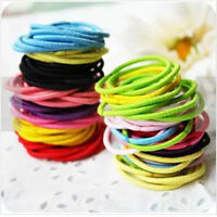 100 Pcs Kids Girl  Elastic Rubber Hair Bands Ponytail Holder Head Rope Ties Mix