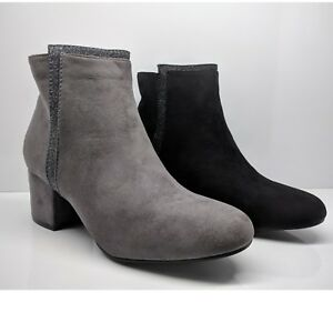 WOMENS-LADIES-ANKLE-BOOTS-SUEDE-BLOCK-MID-HEELS-ZIP-GLITTER-FORMAL-SHOES-SIZE