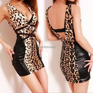 Sexy-Womens-Leopard-Bodycon-Party-Cocktail-Clubwear-Evening-Slim-Mini-Dress