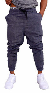 MENS-CUFF-PANTS-BLACK-CHAMBRAY-COTTON-SKINNY-TAPERED-LEG-JOGGERS-TRACKIES-CUFFED