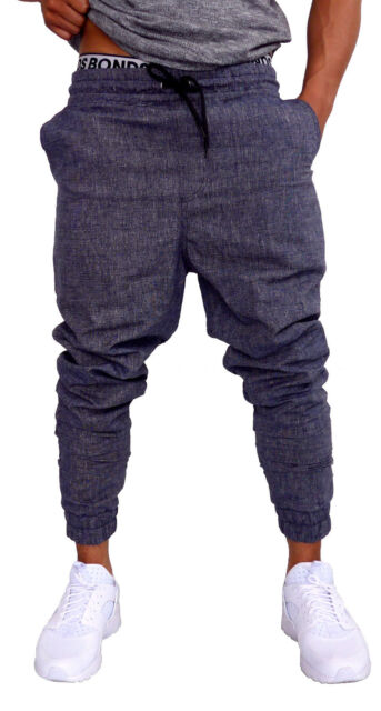 MENS CUFF PANTS BLACK CHAMBRAY COTTON SKINNY TAPERED LEG JOGGERS TRACKIES CUFFED