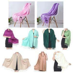 Women-Soft-Pashmina-Silk-Classic-Solid-Cashmere-Wool-Shawl-Scarf-Stole-Wrap