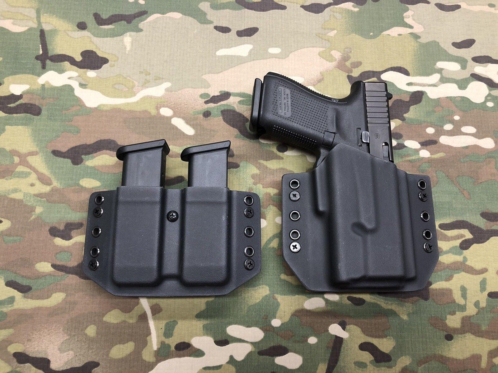 Negro Funda De Kydex Glock 19 GEN5 Surefire XC1 & Doble Mag portador