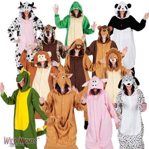 Adult Animal Zoo Mens Ladies Fancy Dress Costume Pyjamas Jumpsuit