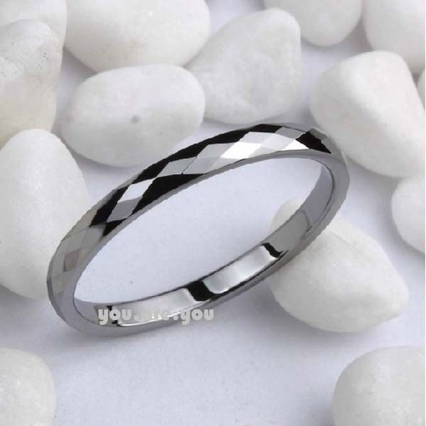 Diamond Faceted Shiny Tungsten Carbide Band Jewelry Women's Wedding Ring