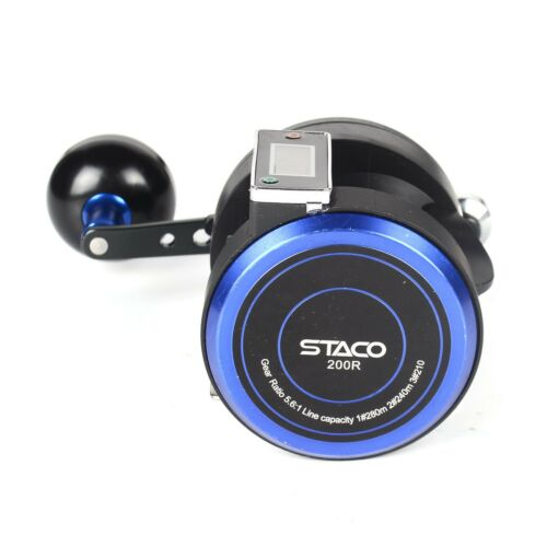 Trolling Fishing Reel With Line Counter 16lbs Star Drag Smooth Saltwater Reel