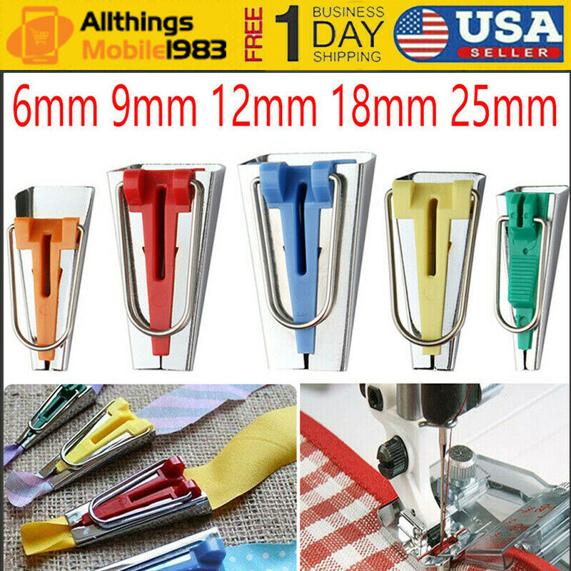 Sets of 5 Makers ZB CrazyCart Bias Tape Fabric Maker Kit Set for Sewing Quilting Awl and Binder Foot Case Tool