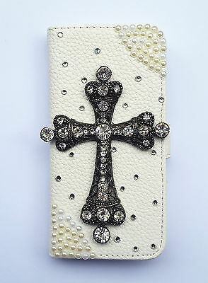 Luxury Pearl Crucifix leather flip pouch Case Wallet cover For various phones 2