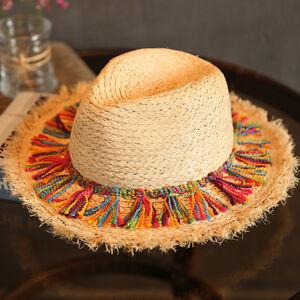da620038 Women Men Straw Wide Brim Fedora Hat Queen Beach Panama Sun Hat Pink ...