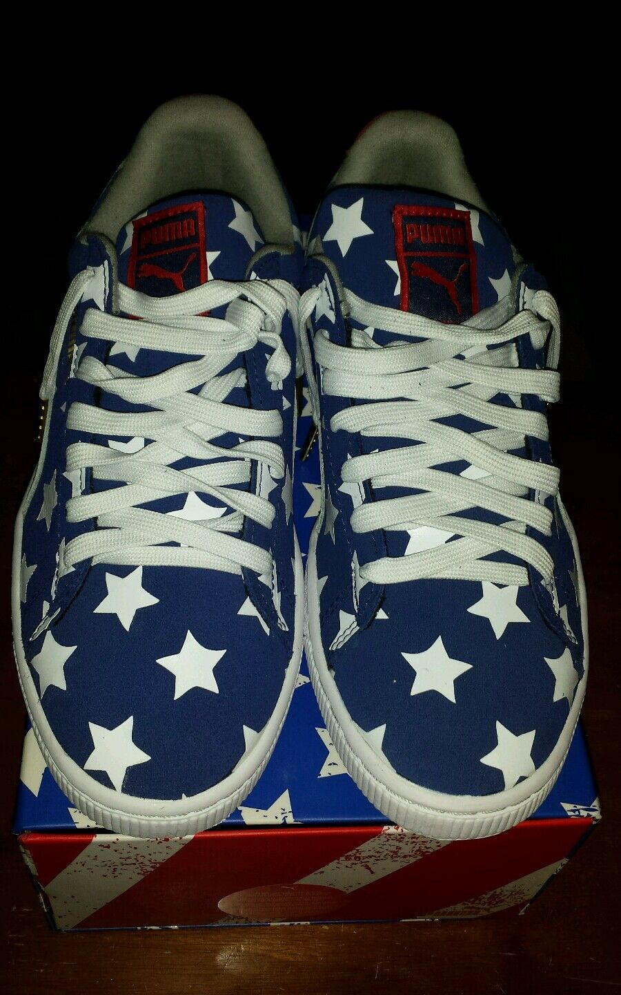 Puma Suede Classic USA July 4 Independence Day Navy White Red Grey Stars Sz 9.5