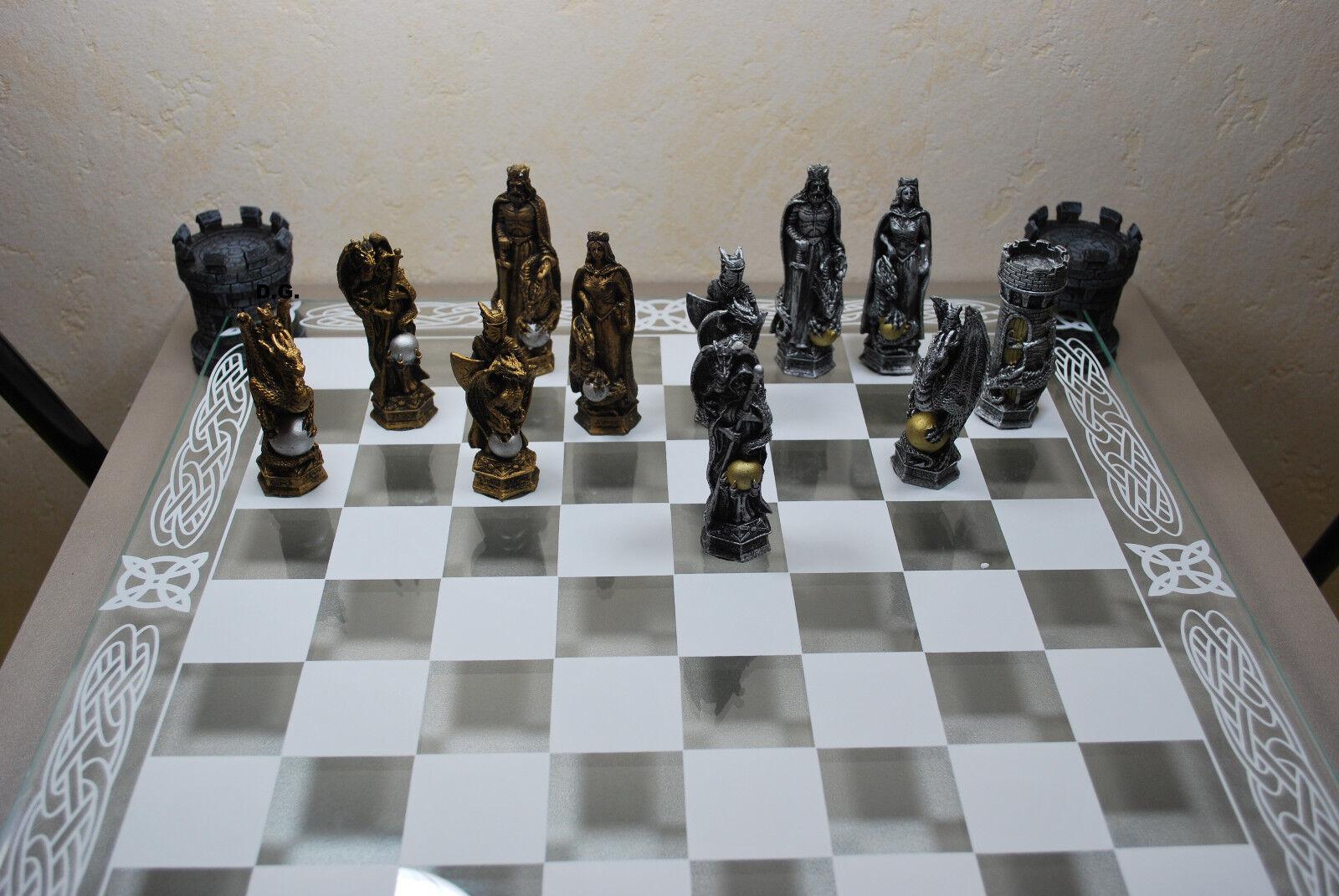 Schachspiel Ritter und Drachen mit Glasbrett Ritterschach Mittelalter Schach