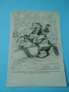 Cirque Dressage Des Chevaux Au Désert Exercices Par Rancy Gravure Old Print 1850 Marchandises De Haute Qualité