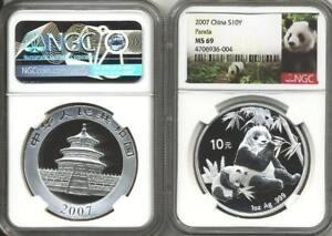 2007-1-oz-China-Silver-Panda-10-Yuan-NGC-MS-69-Free-Ship