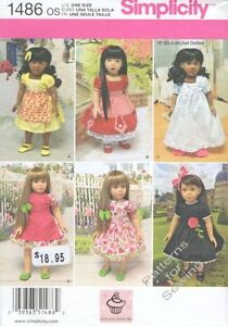 Pattern-Simplicity-fits-18-034-inch-Doll-Clothes-Girl-2014-Dress-Apron-Nightgown