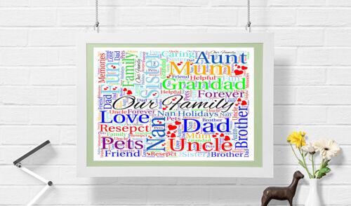Family personalised word art print