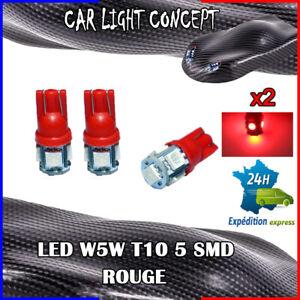 2-x-ampoule-veilleuse-Feu-LED-W5W-T10-ROUGE-XENON-6500k-voiture-auto-moto-5-smd