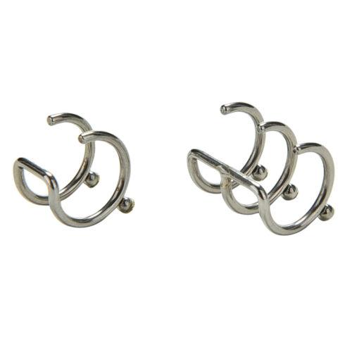 Silver Ear Cuff Wrap Stud 2//3 Row Helix Cartilage Earrings Clip on PierciFJ