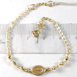 Pulsera-de-Oro-Amarillo-750-18K-Rolo-Bolas-Facetadas-Medalla-Milagrosa