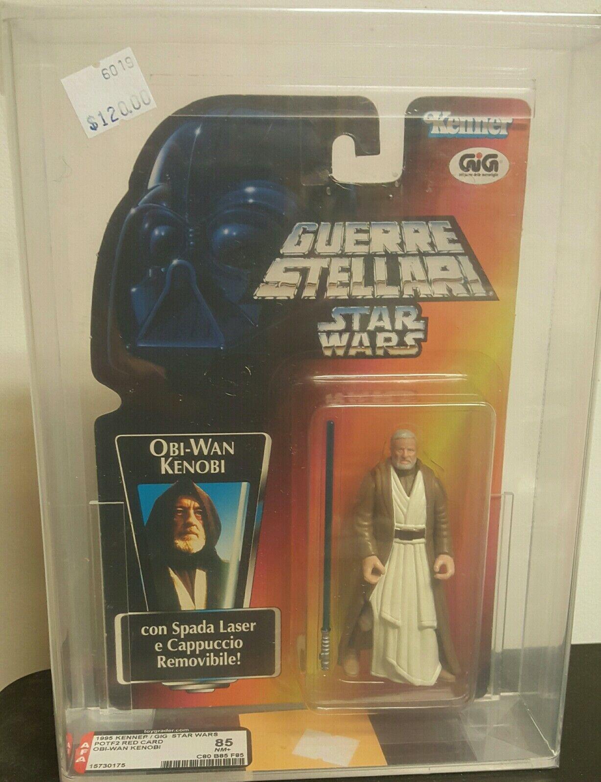 1996 Kenner Gig Estrella wars poder de la fuerza 2 tarjeta roja Obi-Wan Kenobi Figura De Acción autoridad graduada 85NM+