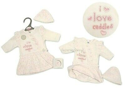 Tiny Premature Preemie Baby Girl 2 Pack of Pink Sleepsuit I Love Cuddles with Tags
