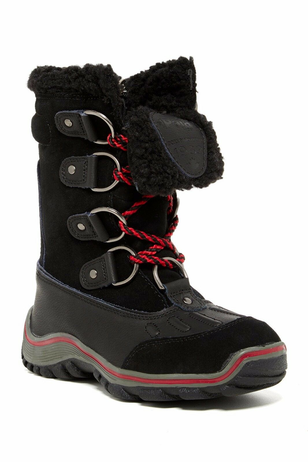Nuevo pajar Alina Negro Cuero Para Mujer botas De Nieve