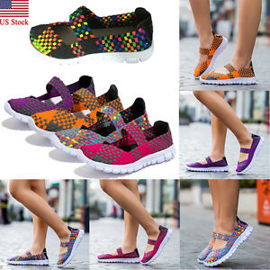 US-Women-Summer-Sport-Slip-On-Elastic-Flat-Shoes-Breathable-Casual-Sandals-Size