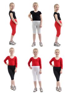 Le Ragazze Per Bambini Semplice Cotone 3/4 Lunghezza Leggings Taglia 1-13 Nero/Bianco/Rosso