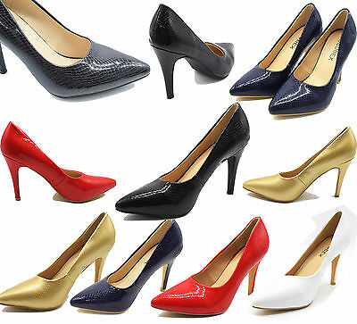 WOMENS HIGH HEEL STILETTO HEEL LADIES OFFICE WORK PROM PARTY POINTED COURT SHOES