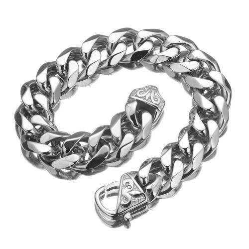 15 mm argent rappeur Bracelet chaîne pour hommes en acier inoxydable Curb Miami Link Bracelet