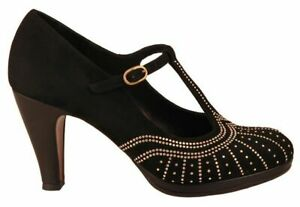Chie-Mihara-Asis-leather-black-suede-mary-jane-heels-size-40-UK-7-Worn-once