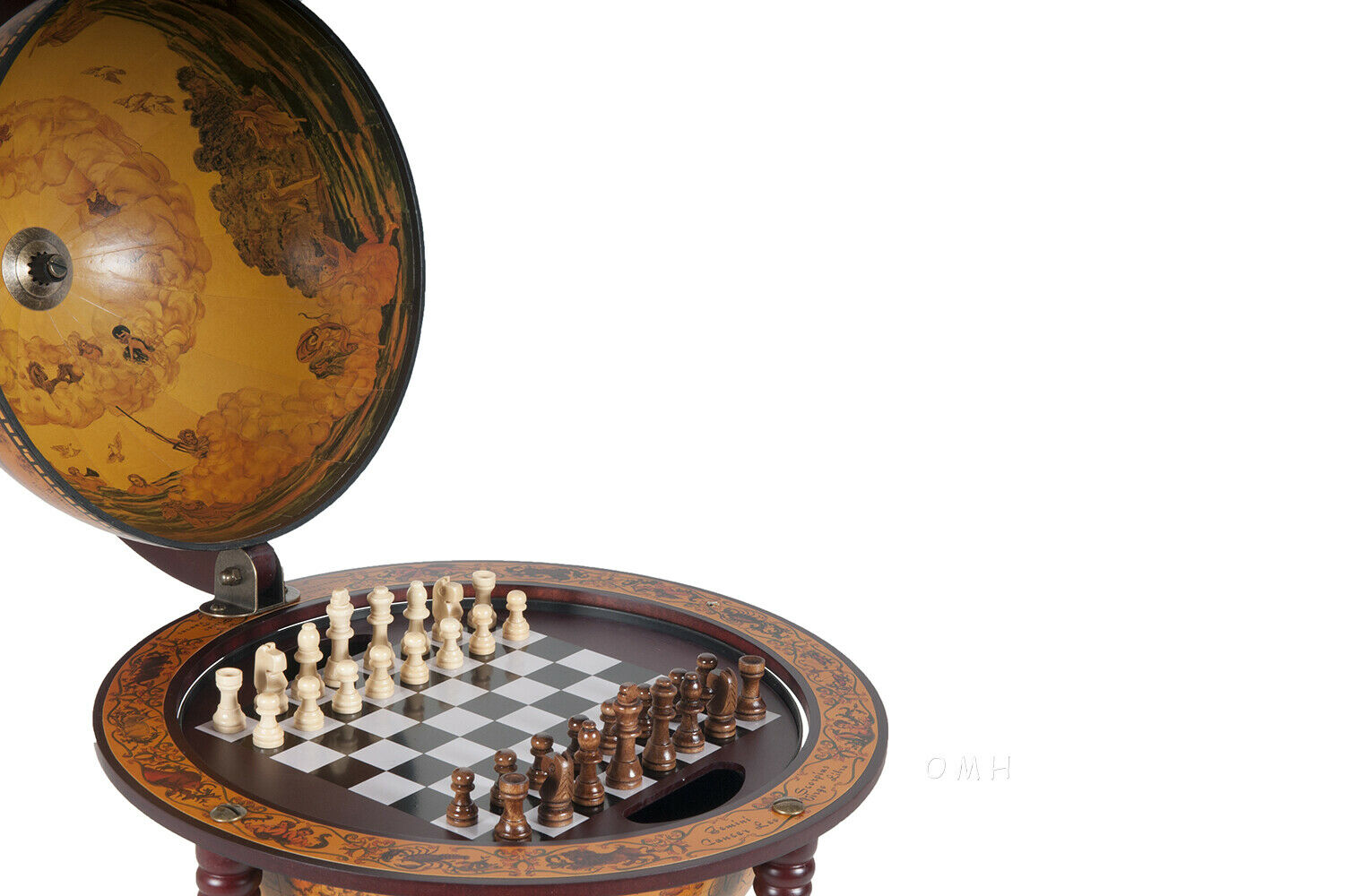 Unique Chess Board w// Pieces Hidden in Wood Table Top Nautical Old World Globe