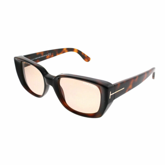 b0496e41b2 Tom Ford Raphael TF0492 52E Dark Havana Plastic Rectangle Sunglasses Brown  Lens