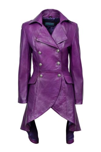 New Ladies Gothic Real Design Purple Laced Style Trenchcoatjack Napa Leather WHE29DI