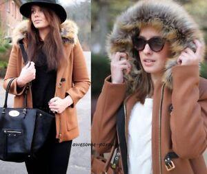 à Coat cuir capuche en laine Zara en Parka Veste Brown camel S cuir Duffle en Taille 5xwqzY0