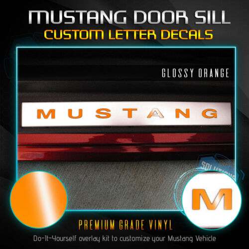 Glossy Matte Fits 2005-2014 Ford Mustang Door Sill Letter Insert Decals 2Pcs