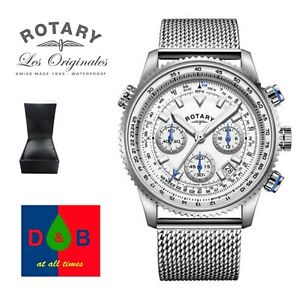 Rotary-GB03107-06-Men-039-s-Stainless-Steel-Mesh-Bracelet-Pilot-Style-Watch-RRP-129