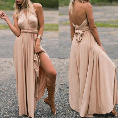 Women Girl Evening Dress Convertible Multi Way Wrap Bridesmaid Formal Long Robes